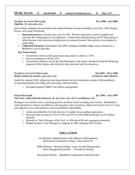 Business Account Manager Sle Resume by Sales Account Manager Resume Exle