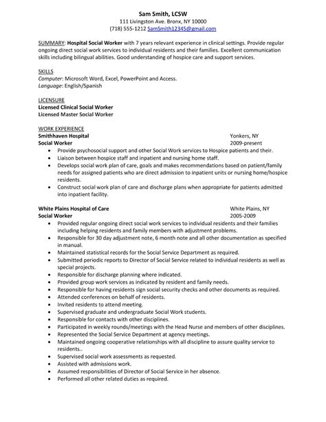 social work resume templates sle resume hospital social worker winning answers to
