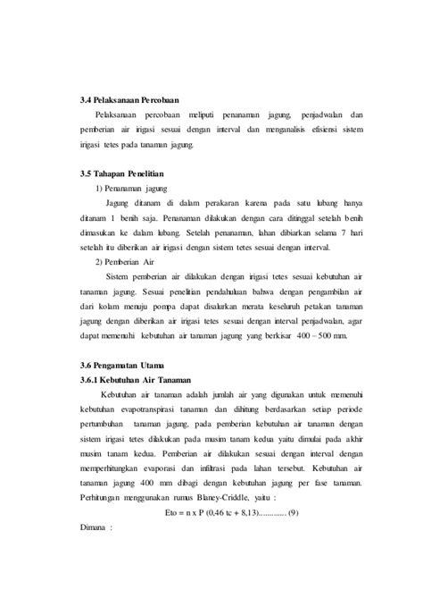 Bibit Jagung Dk 95 analisis efisiensi irigasi tetes dengan air irigasi