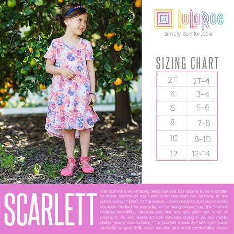 scarlet price sizing chart for the dress lularoe