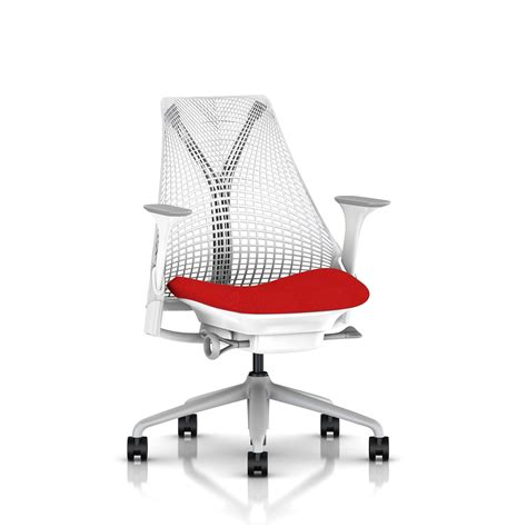 herman miller red seat sayl chair office furniture scene