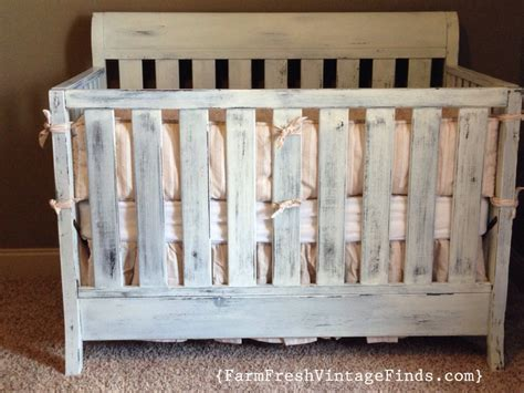Distressed Wood Baby Crib by Crib In Miss Mustard Seeds Linen Milk Paint Farm Fresh