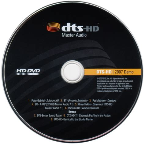 image format dvd cd master dts hd dvd demo disc 2007