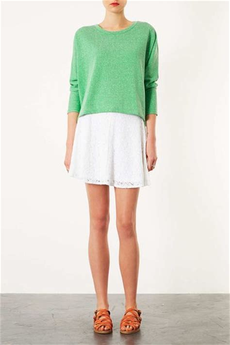 topshop high waisted lace skater skirt in white lyst