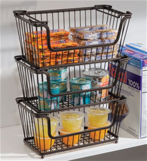 Pantry Wire Baskets by York Stackable Open Front Pantry Basket Bronze In Wire