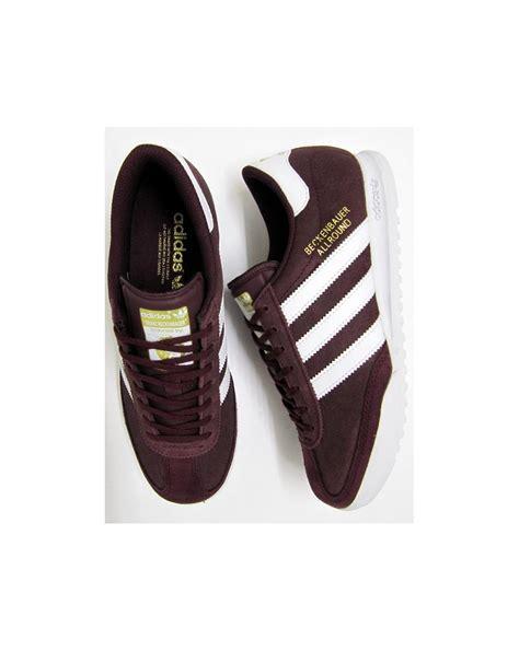 adidas light white adidas beckenbauer trainers light maroon white originals