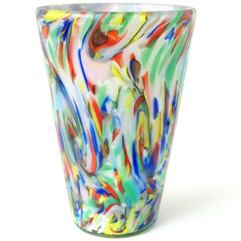 Rainbow Vase by Fratelli Toso Murano Rainbow Color Swirls Italian
