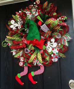 Where To Buy Vases Elf Wreath Christmas Deco Mesh Wreath By Shellyschicdesigns