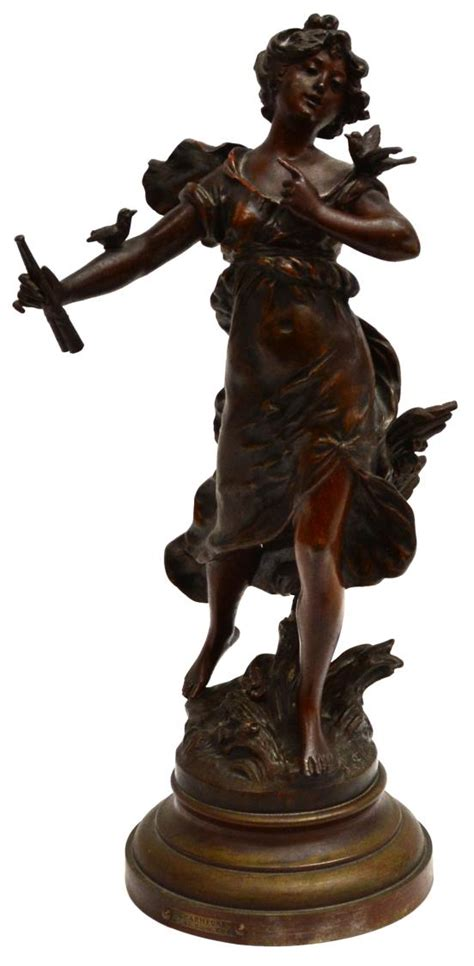 Spelter L by L F Moreau Spelter Sculpture Charmeuse
