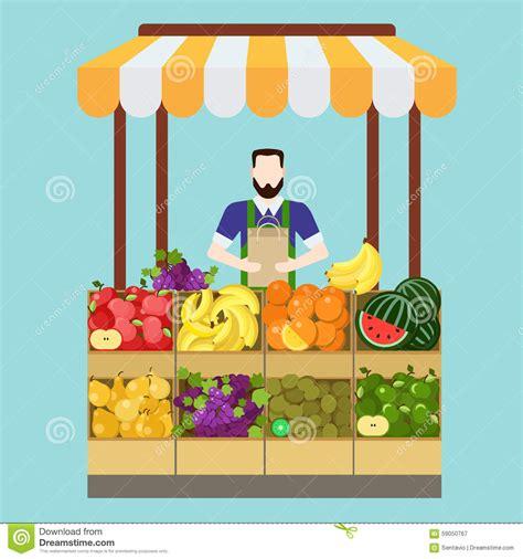 c fruit plano concepto plano de la tienda vector de la fruta