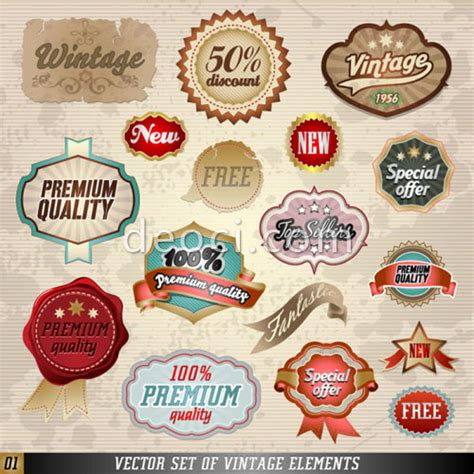 Vector Label Set Of Vintage Elements Design Template Eps File Download For Adobe Illustrator Adobe Illustrator Sticker Template
