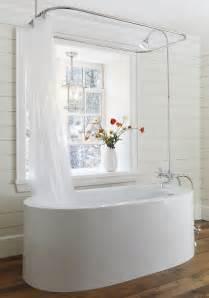 Freestanding Bath And Shower Ceiling Shower Rail Cottage Bathroom Muskoka Living