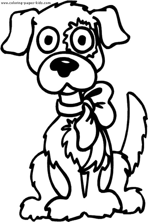 Dog With A Ribbon Color Page Coloring Pages Puppy And Ribbon