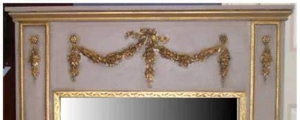 X54 Rd Mukena Algani Gold mirror trumeau swag 3 drops carolines collectibles ruby