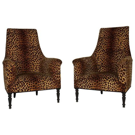 Leopard Print Chairs by Pair Of Napoleon Iii Leopard Print Club Chairs At 1stdibs