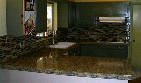 Granite Countertops With Glass Tile Backsplash by Kitchen Granite Tile Countertop And Glass Backsplash