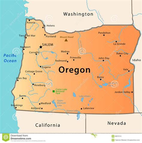 oregon state map in usa oregon map stock vector illustration of california flag