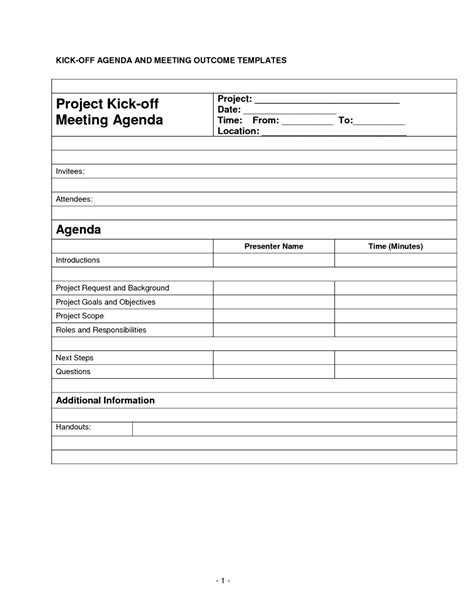 project kickoff meeting template kick meeting agenda template professional sle templates