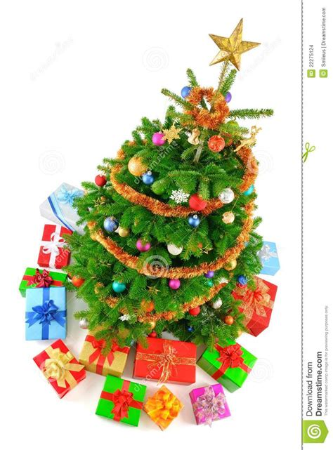 top view of colorful christmas tree stock images image