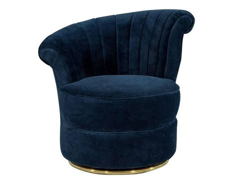 navy tufted barrel chair pair of navy blue velvet shell occasional chairs for sale