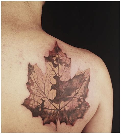 fall leaf tattoo 55 lovely leaf designs to try with meaning