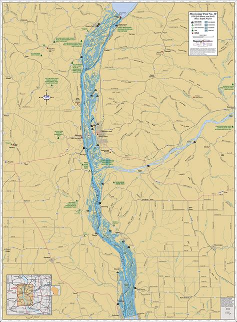 map of mississippi river mississippi river pool 10 wall map