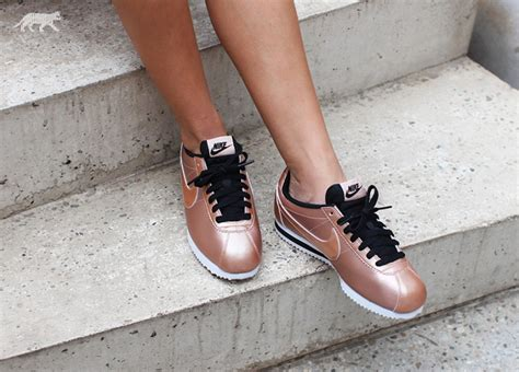 nike cortez leather bronze sneakers