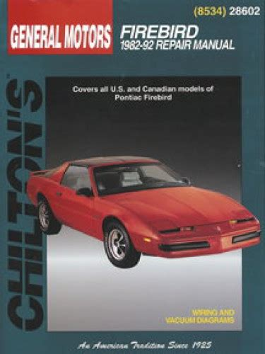 car repair manuals online free 1999 pontiac firebird navigation system pontiac firebird 1982 1992 chilton repair manual