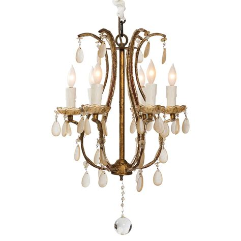 Fursdone Ivory Crystal French Antique 6 Light Gold Ivory Chandelier