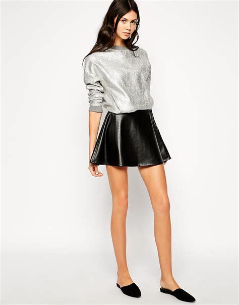 Lyppi Blouse dr denim faux leather flippy skirt in black lyst