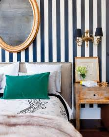 blue striped walls white and navy blue striped wall eclectic bedroom