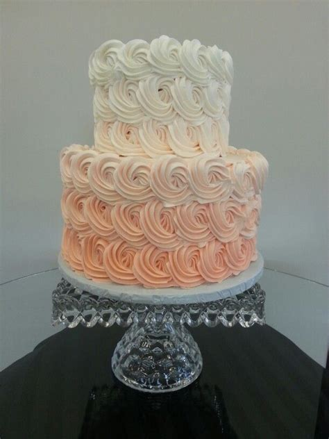 Ombre coral 2 tier wedding cake   Cake Chic Studio   Cake
