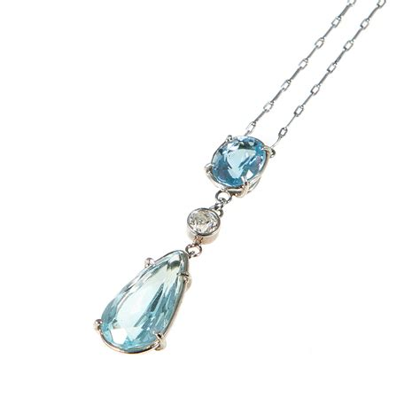 jewelry pendants edwardian platinum aquamarine pendant necklace