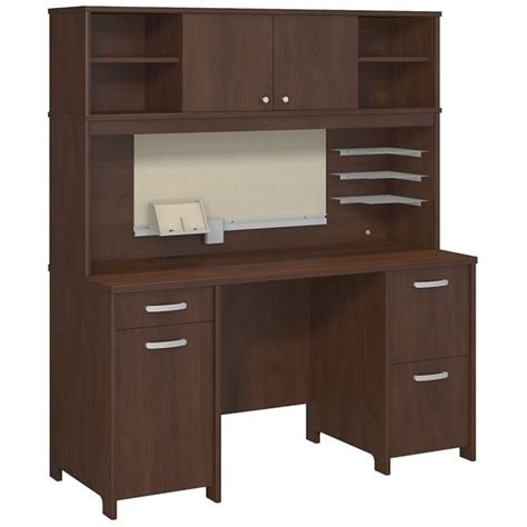 Computer Desk With Hutch Cherry Bush Envoy Computer Desk With Hutch In Hansen Cherry Env006hc