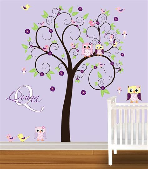 owl wall stickers for nursery tree wall decals tree wall decal nursery vinyl wall stickers flowers owls curl