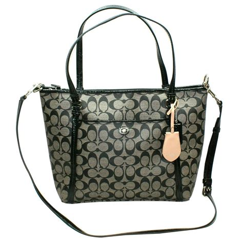Coach Blacknwhite coach peyton pocket pvc tote crossbody bag black white