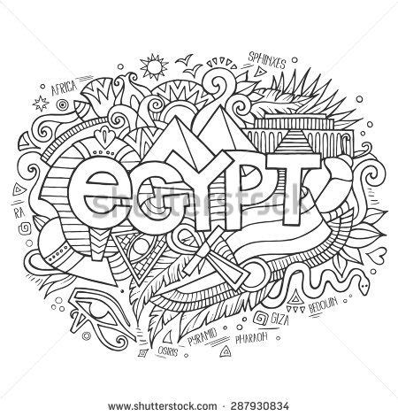 egypt hand lettering  doodles elements background