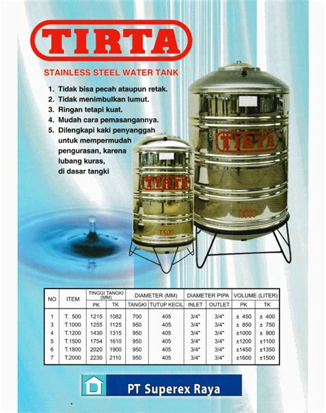 Tangki Air Stainless Steel Tirta T 1000 Water Tank Tandon Toren Air tangki air stainless steel tirta jual tangga tangki dan jemuran