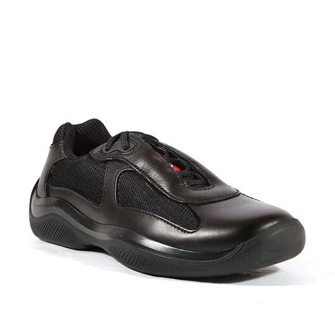 womans sneakers prada sneakers womens americas cup black leather shoes