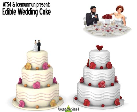 Wedding Cake In The Sims 4 by Around The Sims 4 Custom Content Edible