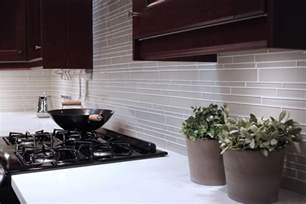 off white glass subway tile kitchen backsplash wall sink