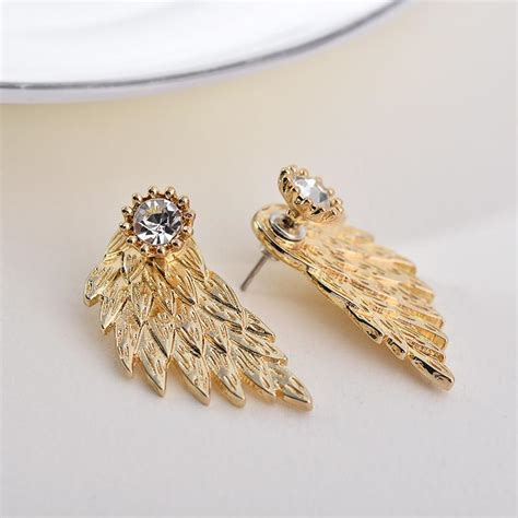 Rhinestone Wing Earrings wing rhinestone stud earrings luxurynation