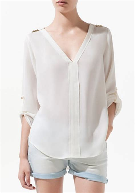 Blouse V white rivet v neck sleeve chiffon blouse blouses tops