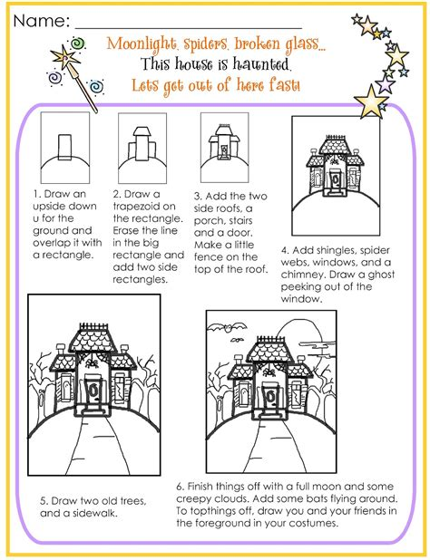 how to draw a haunted house for kids step by step 2nd grade smarty arties taught by the groovy grandma