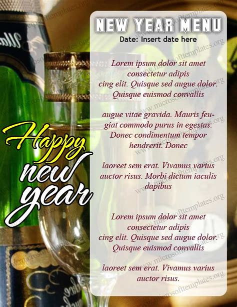 free new year menu template happy new year 2012 menu template free menu templates