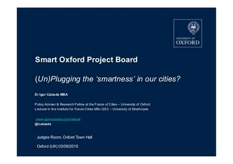 Mba Research Login by Oxford City Smart Oxford Project Board Dr Igor