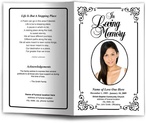 funeral programs and memorials in loving memory