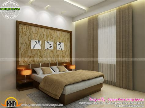 Bedroom Designed Interior Designs Of Master Bedroom Living Kitchen And Stair Kerala Home Design And
