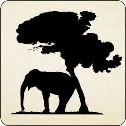 Elephant House Decor African Elephant And Tree Vinyl Wall Decals Stickers