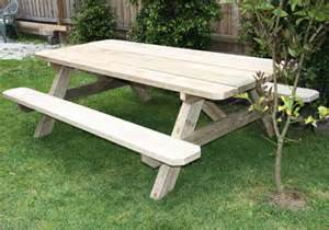 Wooden picnic tables without benches pine outdoor wooden table